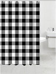 blanco y negro de la cortina de ducha de poliéster
