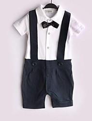 Boy Children's Baby Black Bow Gentleman Suspender Boy Grow Short Sleeved Jumpsuits