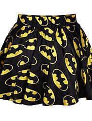 PinkQueen Women's Spandex Bruce Wayne Print Pleated Skirt