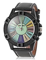 мужская красочные кожа циферблат браслет кварцевые наручные часы