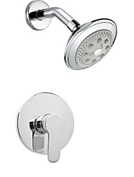 Contemporary Chrome Wall Mount Rain Single Handle Brass Shower Faucet with Showerhead