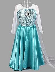 Girl's Blue Costume Princess Snow Queen Cosplay Long Dress