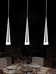 Modern Bar Pendant Light, 3 Light, Transparent Acrylic Metal Plating,110V-240V.