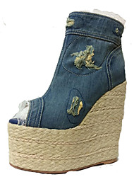 talon de cale chaussures peep toe de femmes denim