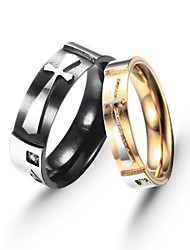 Fashion Stainless Titanium Steel Cross Love Couple Ring