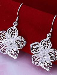 Vivid Women's Flower Silver Plate Earrings