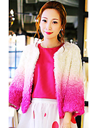 3/4 Sleeve Collarless Lamb Fur Party/Casual Jacket(More Colors)
