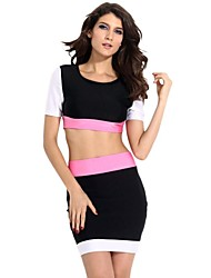 Women's Black White Skirt Set with Rosy Waistband Suit(Blouse&Skirt)