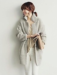 Women's Coarse Needle Contracted In Long Knitting Big Yards Thickening Cardigan Sweater Coat