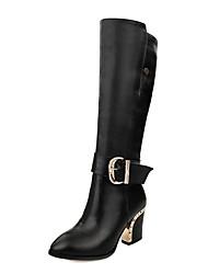 altas botas zapatos botas de moto tacón grueso de la rodilla de la mujer con hebilla más colores disponibles