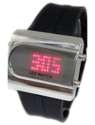 Men's Red LED Display Black Steel Band Wrist Watch