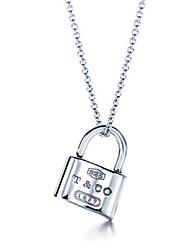 VIVIAN Fashion Solid Color Lock Sweet Necklace_Necklace:45.72cm,Pentand:2*1.5*0.55cm