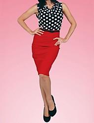 Women's Polka Dot/Patchwork Green/Red Dress , Bodycon/Work Cowl Sleeveless