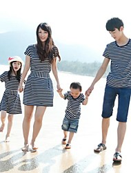 Family's Stylish Round Collar Stripe Backside Bow Cape Sleeve Tees&Dress