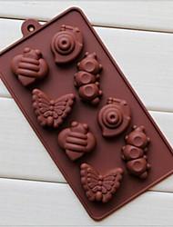 8 trous de moules à chocolat gâteau en forme d'escargot chenille glace gelée, silicone 19,2 × 10,6 × 2 cm (7,6 × 4,2 × 0,8 pouces)