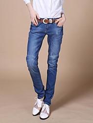 Women's Blue Oxford cloth Pant , Bodycon/Casual/Plus Sizes