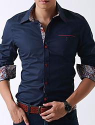 DiHao New Korean Cotton Causal Slim Large Yard Long Sleeve Shirt(Dark Blue)