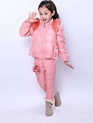 Girl's Fashion And Leisure Warm Flower Three Piece Clothing Set