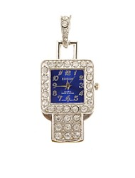 ZP 64B Pendant Blue Watch Pattern Crystal Jewelry Style with Clock USB Flash Drive