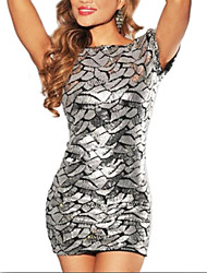 Women's Geometric Silver Dress , Sexy/Bodycon/Casual/Print/Cute/Party Bateau Short Sleeve Sequins