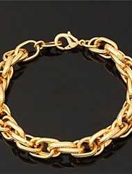 U7  Big Men's 18K Chunky Gold Filled Twisted Link Chain Bracelet 11MM 8Inches (21CM)