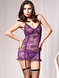 Oh yeah S Women's V Neck Lace Sheer Nightwear (Gartered Lingrie Nightdress With Thongs With Fishnet)