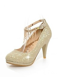 Women's  Shoes Round Toe Stiletto Heel Glitter Pumps with Chain Shoes More Colors available