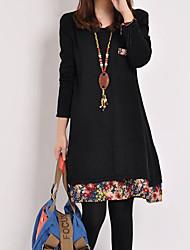 Kvinnors casual långärmade Flower Dress