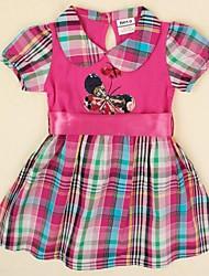 kinderen jurk geruite jurk vlinder borduren korte sleeeve voor de zomer meisjes jurk willekeurige afdruk