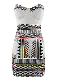 Women'S Strapless Vintage Print Sexy Slim Fit Bodycon Women Dresses 2015 New Brand Night Club Sundress