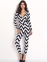 Women's White Jumpsuits , Sexy/Bodycon Long Sleeve