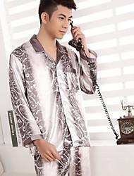 Men Polyester/Satin/Silk Pajama Medium