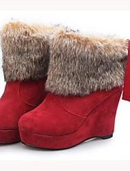 VROUWEN - Booties / enkellaarsjes - Fashion Boots/Gesloten teen/Ronde Teen/Wiggen - Laarzen ( Zwart/Bruin/Rood ) - met Wedge Heel - en