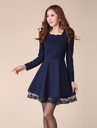 Women's Square Woolen Blend Long Sleeve Tweed Dress