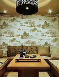 papel de parede wallcovering, china tinta estilo pintura de paisagem e lave papel de parede do pvc