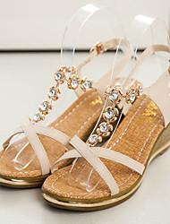 Moka Women's Wedge Heel Diamonade Sandals H333 Cream