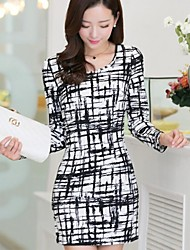 Women's Print Multi-color Dress , Bodycon/Casual/Work Round Neck Long Sleeve