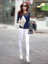Women's Spring / Fall Blouse,Solid Round Neck Long Sleeve Blue / White / Black Polyester Medium