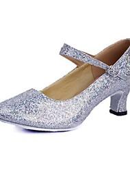 Sandálias das mulheres modernas baixo heelt sapatos de dança paillette fivela (mais cores)