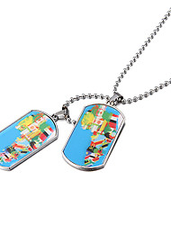 Men's (Double Tag Africa National Flag) Silver Alloy Pendant Necklace (1 Pc)