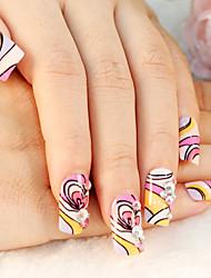 24PCS Cartoon Heart-Shaped Multicolor Nail Art Tips With Nail Glue&Nail File