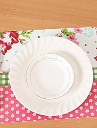 Peony Printing Heat Insulation Eat Mat for Cup or Plate Plastic  43cm x 28cm