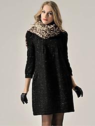 rlk ropa temperamento suelta 3/4 manga vestido de negro 827