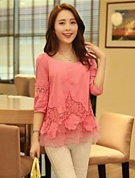 Women's Cute Summer Blouse,Solid ½ Length Sleeve Pink / Red / White Thin