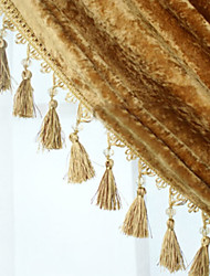 32 feet Country Graceful Hand Made Trim - Yellow with Bead Pendant