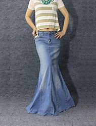 Women's Vintage Casual Mermaid Jeans Long Skirt