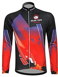 Realtoo Cycling Jacket Men's Long Sleeve Bike Breathable Thermal / Warm Fleece Lining Jersey Tops Spandex Polyester Fleece Patchwork