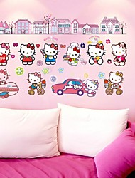 doudouwo® autocollants muraux stickers muraux, dessin animé le sticker mural PVC beau chat