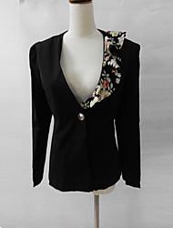 print floral blazer_black manga larga moda Jushang