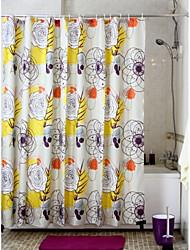 Flower Pattern Polyester Shower Curtain